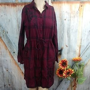 A.N.A.  Button Up Flannel Dress with Pockets
